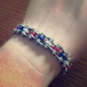 Jewelry - Red White Blue Americana Festival Bling Bracelet